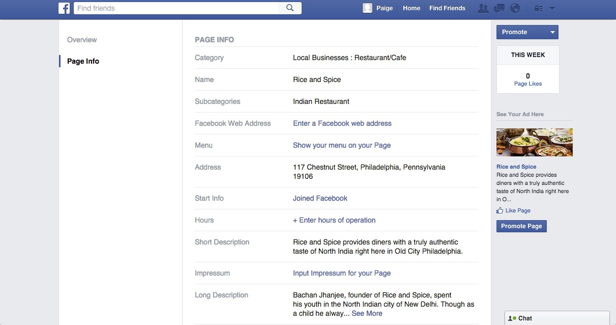 Editing your Site's Contact Information (Through Facebook