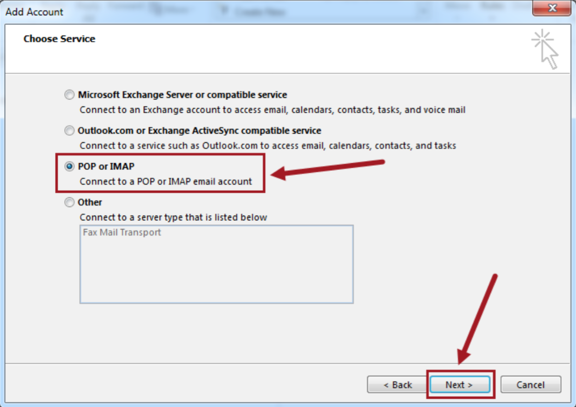 Configuring Email on Outlook – Support